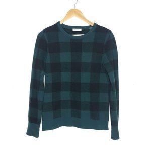 Equipment Shane Green Plaid Wool Crewneck Sweater